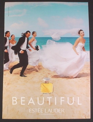 Magazine Ad for Estee Lauder Beautiful Fragrance Perfume, Bridal Party Running on Beach, 2002