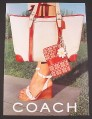 Magazine Ad for Coach Purses Handbags Bags, Fashion, Red & White, 2002