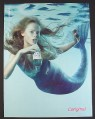 Magazine Ad for Evian Water, Mermaid with Bottle, 2000
