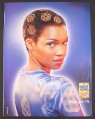 Magazine Ad for Honey-Comb Cereal, Woman with Honeycomb Pattern in Hair, 2000