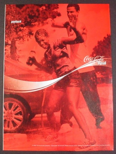 Magazine Ad for Coca-Cola Coke, Washing the Car, Payback, 2003
