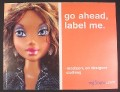 Magazine Ad for My Scene Barbie Doll, Madison, Go Ahead Label Me, 2003