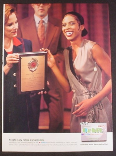 Magazine Ad for Orbit White Gum, Receiving an Award, Tag Still Hanging From Dress, Funny, 2002