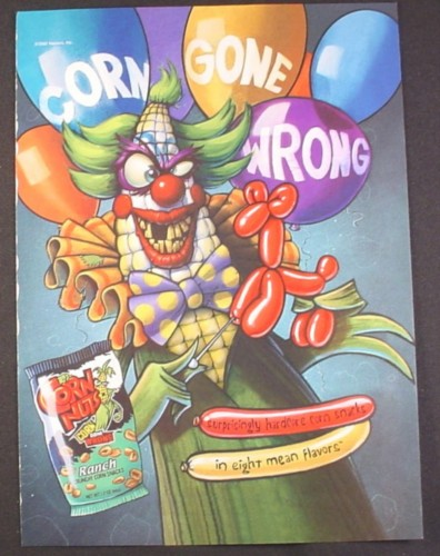Magazine Ad for Corn Nuts Ranch Snacks, Corn Gone Wrong, Demented Clown, Funny, 2002