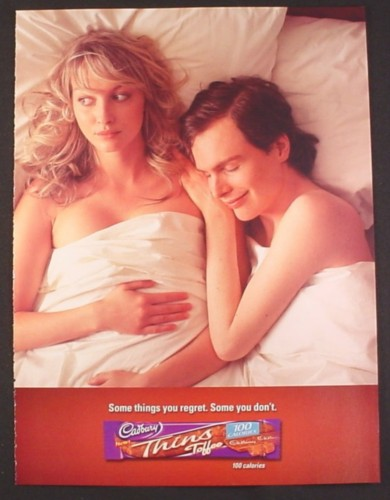 Magazine Ad for Cadbury Thins Coffee, In Bed with Wrong Guy, Some Things You Regret, Funny