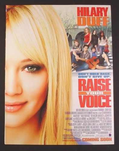 Magazine Ad for Raise Your Voice Movie, Hillary Duff, 2004