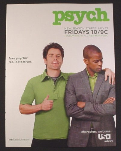 Magazine Ad for Psych TV Show Premiere, Dule Hill, 2007