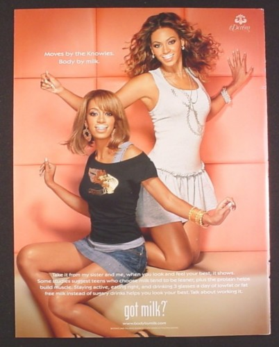 Magazine Ad for Got Milk, Beyonce & Solange Knowles, 2007