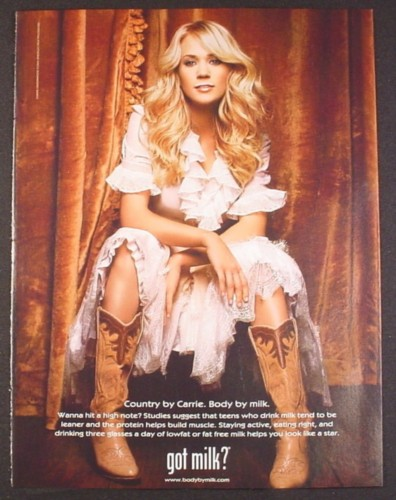 Magazine Ad for Got Milk, Carrie Underwood, Country Music Star, 2006