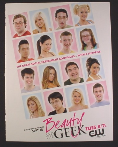 Magazine Ad for Beauty And The Geek TV Show, CW Network, 2007