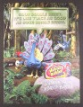 Magazine Ad for Hubba Bubba Sour Double Berry Gum, Claymation Peacocks, 2005