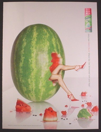 Magazine Ad for Skintimate Melon Burst Shave Gel, Watermelon with Sexy Legs Showing, 2005