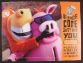 Magazine Ad for Kellogg's Cereal, Eet and Ern, Plush Horse & Pig, 2001