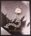 Magazine Ad for Burberry Pocket Watch with Chain, 2006, 9 by 10 3/4