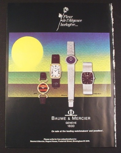 Magazine Ad for Baume & Mercier Watches, 4 Models, 38321 38303 38310/474 37060/188-21, 1974