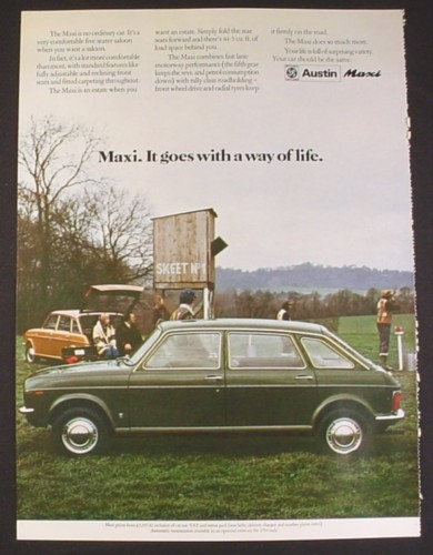 Magazine Ad for Austin Maxi British Car Automobile, Green 4 Door, Skeet Shooting, 1974