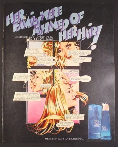 Magazine Ad for Beauty Clinic Shampoo, Comic, family Ashamed Of her Hair, British, 1970
