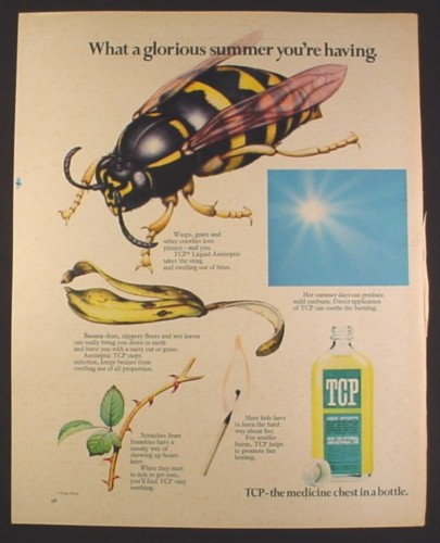 Magazine Ad for TCP Liquid Antiseptic, Medicine Chest In A Bottle, British, 1970, 10 by 12 1/2