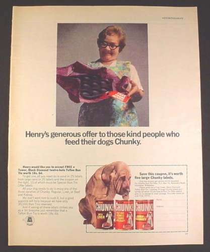 Magazine Ad for Chunky Dog Food, Henry, Free Bun Tin Offer, British, 1970, 10 by 12 1/2
