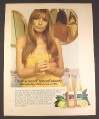 Magazine Ad for PLJ Lemon Juice, Model in Towel, For Natural Beauty, British, 1970, 10 by 12 1/2
