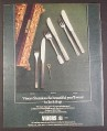 Magazine Ad for Viners Stainless Cutlery, Chelsea, Design 70 Studio Patterns, British, 1970