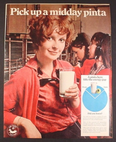 Magazine Ad for Milk, Pick Up A Midday Pinta, Before Got Milk, British, 1969, 10 by 12 1/2