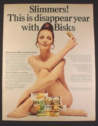 Magazine Ad for Bisks Biscuits, Crackers, Dieting, Nude Woman, British, 1969, 10 by 12 1/2