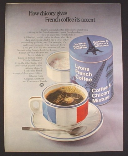 Magazine Ad for Lyons French Coffee & Chicory Mixture, British, 1969, 10 by 12 1/2