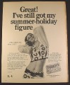 Magazine Ad for Saxin Artificial Sweetener, Woman with Bare Midriff, British, 1970, 10 by 12 1/2