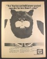 Magazine Ad for Choosy Cat Food, Do Bigger Cats Pick On Him, British, 1970, 10 by 12 1/2