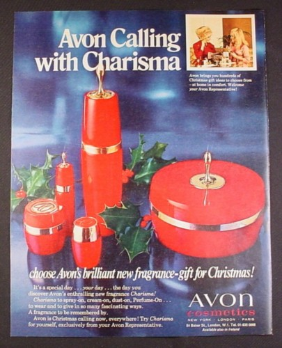 Magazine Ad for Avon Charisma Fragrance, 5 Different Containers, British, 1970, 10 by 12 1/2