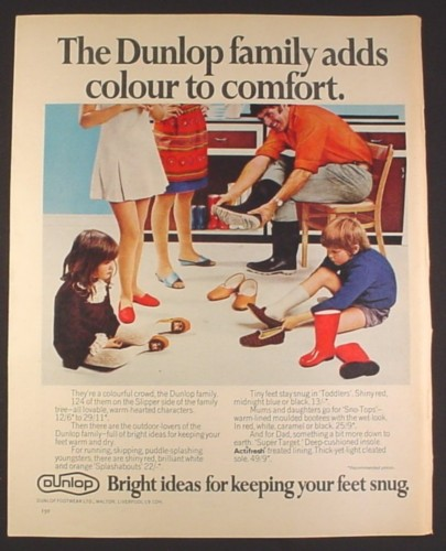 Magazine Ad for Dunlop Slippers & Boots, British, 1970, 10 by 12 1/2