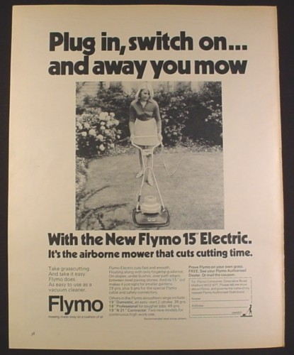 Magazine Ad for Flymo 15 Inch Electric Lawn Mower, Floats on Air, British, 1970, 10 by 12 1/2
