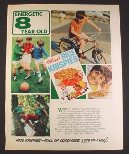 Magazine Ad for Kellogg's Rice Krispies, Energetic 8 Year Old, British, 1970, 10 by 12 1/2
