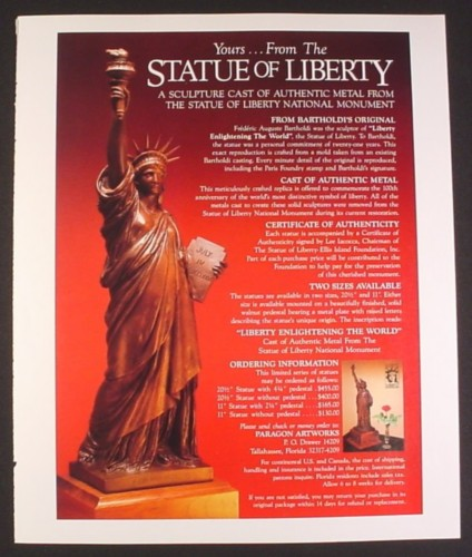 Magazine Ad for Statue of Liberty Cast Metal Sculpture, Paragon Artworks, 1985, 9 by 11