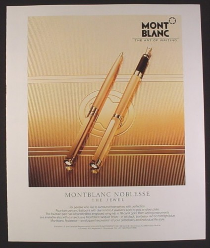 Magazine Ad for MontBlanc Noblesse, The Jewel, Fountain & Ballpoint Pens, 1988, 9 by 11
