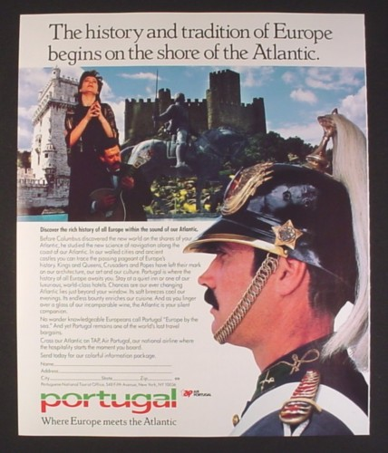 Magazine Ad for Portugal Travel, Where Europe Meets The Atlantic, 1987, 9 by 11