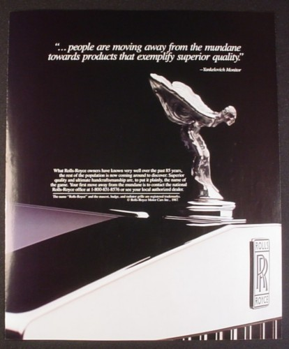 Magazine Ad for Rolls Royce, Close Up of Hood Ornament, 1987, 9 by 11
