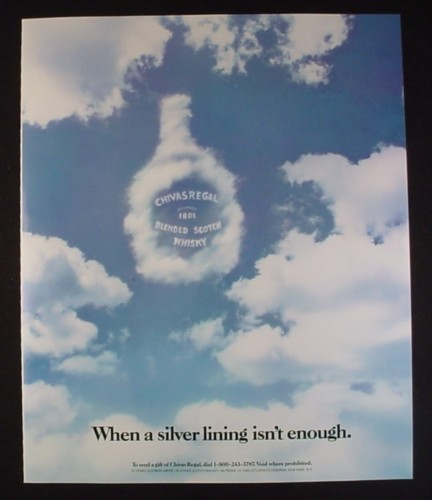 Magazine Ad for Chiva Regal Scotch Whisky, When A Silver Lining Isn't Enough, 1987, 9 by 11