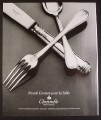 Magazine Ad for Christofle Collection Silverware, France, 1987, 9 by 11