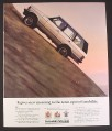 Magazine Ad for Range Rover, Climbing a Steep Hill, Upward Mobility, 1987, 9 by 11