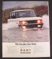 Magazine Ad for Range Rover, White, In River, We Brake For Fish, 1988, 9 by 11