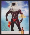 Magazine Ad for Kahlua Black Russian, Very Muscular Man in Diving Helmet, 1999, 9 by 10 3/4