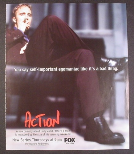Magazine Ad for Action TV Show, Jay Mohr, Illeana Douglas, Buddy Hackett, 1999, 9 by 10 3/4