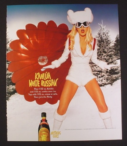 Magazine Ad for Kahlua White Russian, Sexy Woman in White Outfit & Red Parachute, 1999