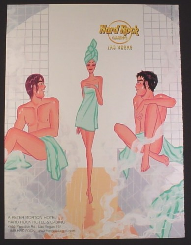 Magazine Ad for Hard Rock Casino, Las Vegas, Girl Walking Into A Sauna With 2 Guys, 2000
