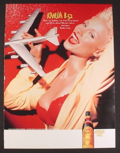 Magazine Ad for Kahlua B-52, Sexy Woman in Red Bra & Yellow Shirt, 2000, 8 3/4 by 11 3/4
