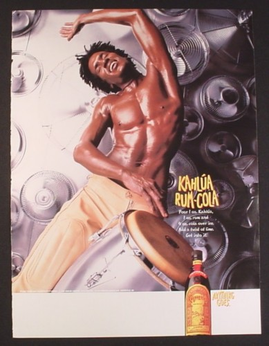 Magazine Ad for Kahlua Rum-Cola, Man with Bongo Drums, 2000, 8 3/4 by 11 3/4