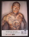 Magazine Ad for Gameboy Advance SP Tribal Edition Guy with Lots of Tattoos, 2004, 8 3/4 by 11 3/4