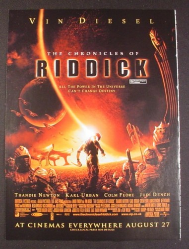 Magazine Ad for The Chronicles Of Riddick Movie, Vin Diesel, Thandi Newton, 2004, 8 3/4 by 11 3/4